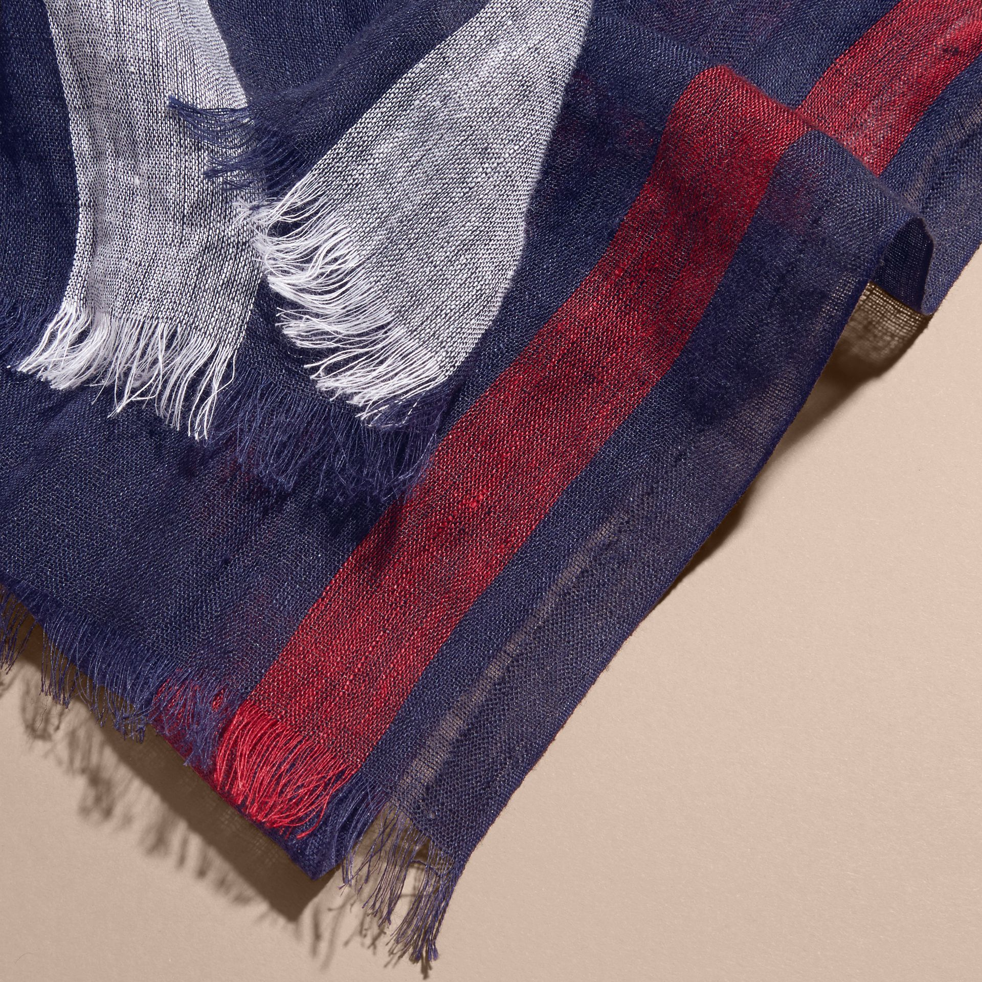 Lightweight Check Linen Scarf in Navy | Burberry - gallery image 2