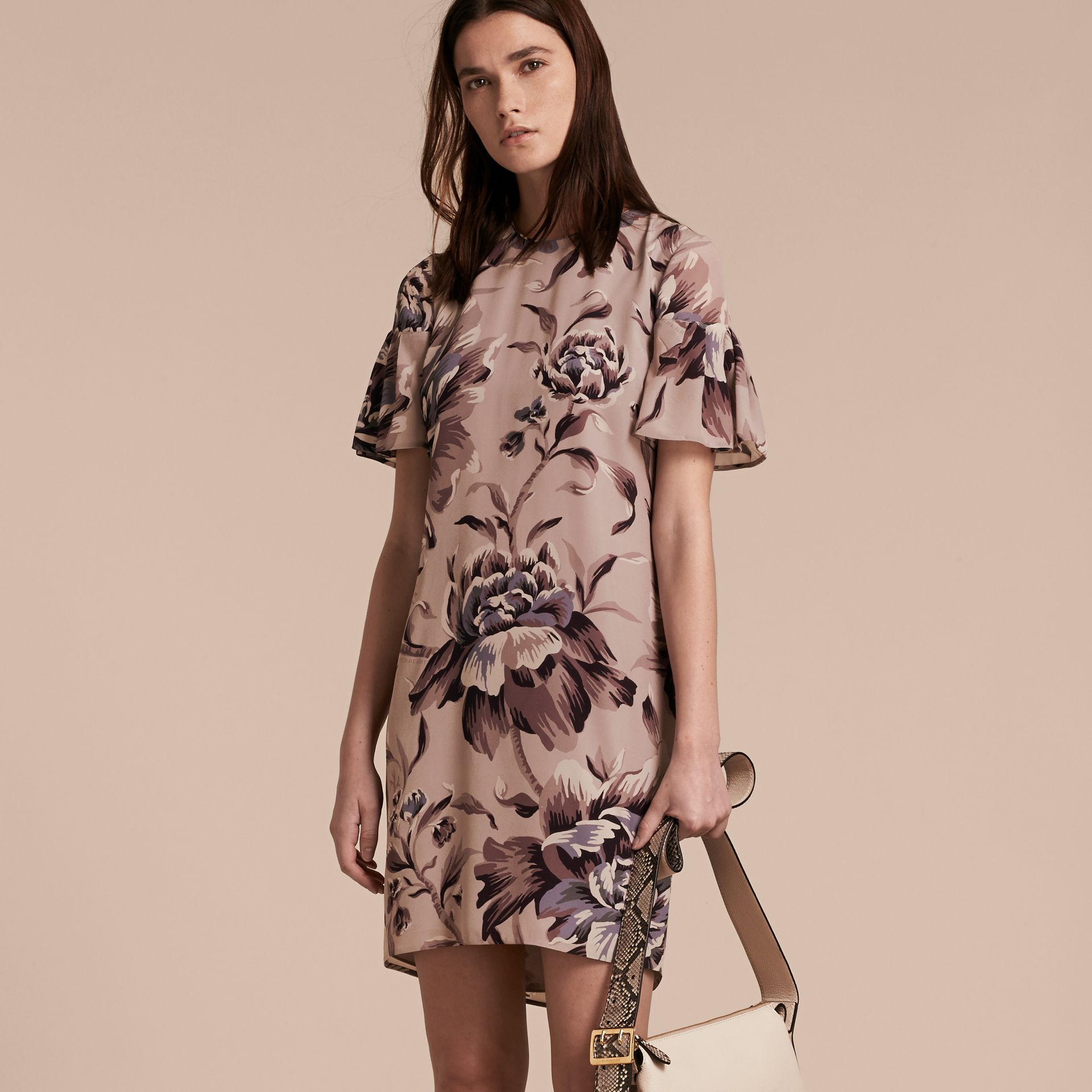 Ash rose Peony Rose Silk Shift Dress with Ruffle Sleeves Ash - gallery image 6