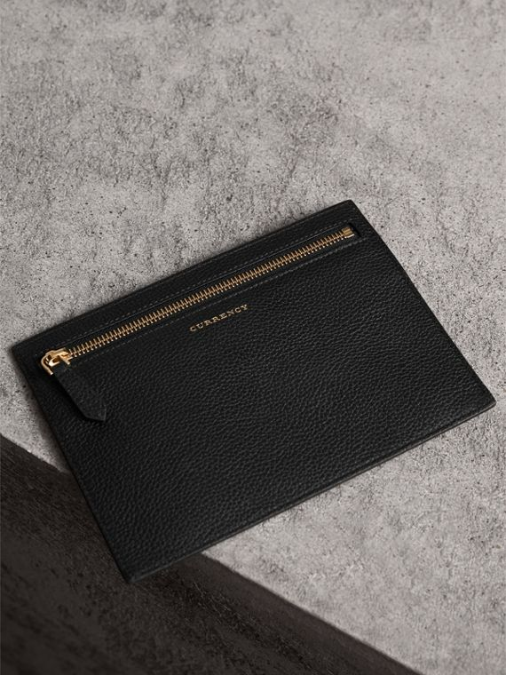 Grainy Leather Currency Wallet in Black | Burberry Hong Kong - cell image 2