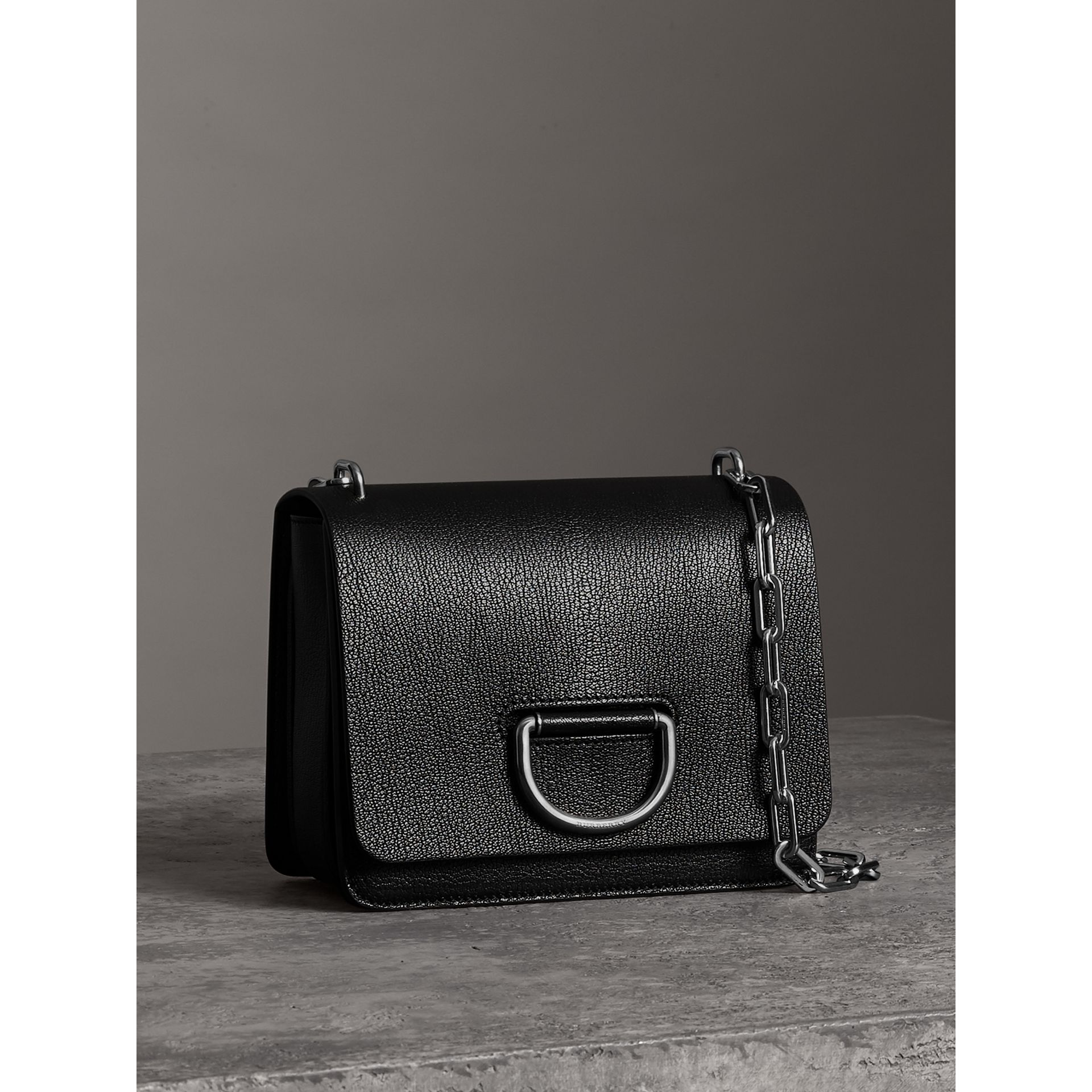 The Small Leather D-ring Bag in Black - Women | Burberry Canada - gallery image 6