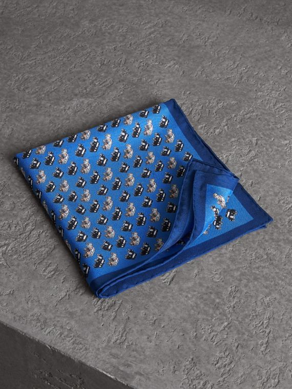 Taxi Print Silk Pocket Square in Hydrangea Blue