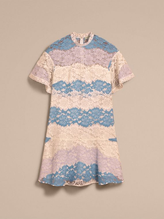 Floral Lace Dress with Flutter Sleeves in Slate Blue - cell image 3