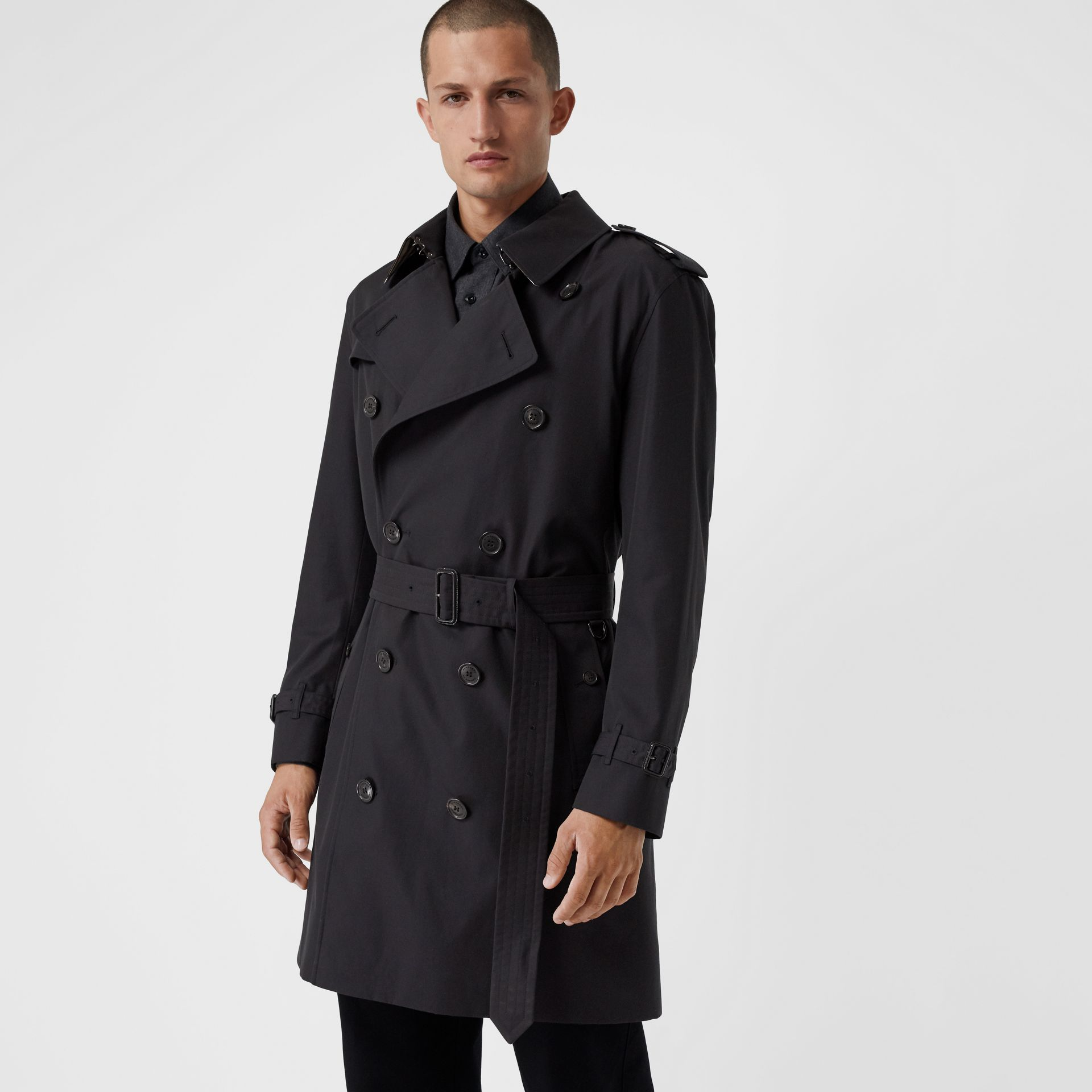 Cotton Gabardine Trench Coat with Warmer in Midnight - Men | Burberry - gallery image 5