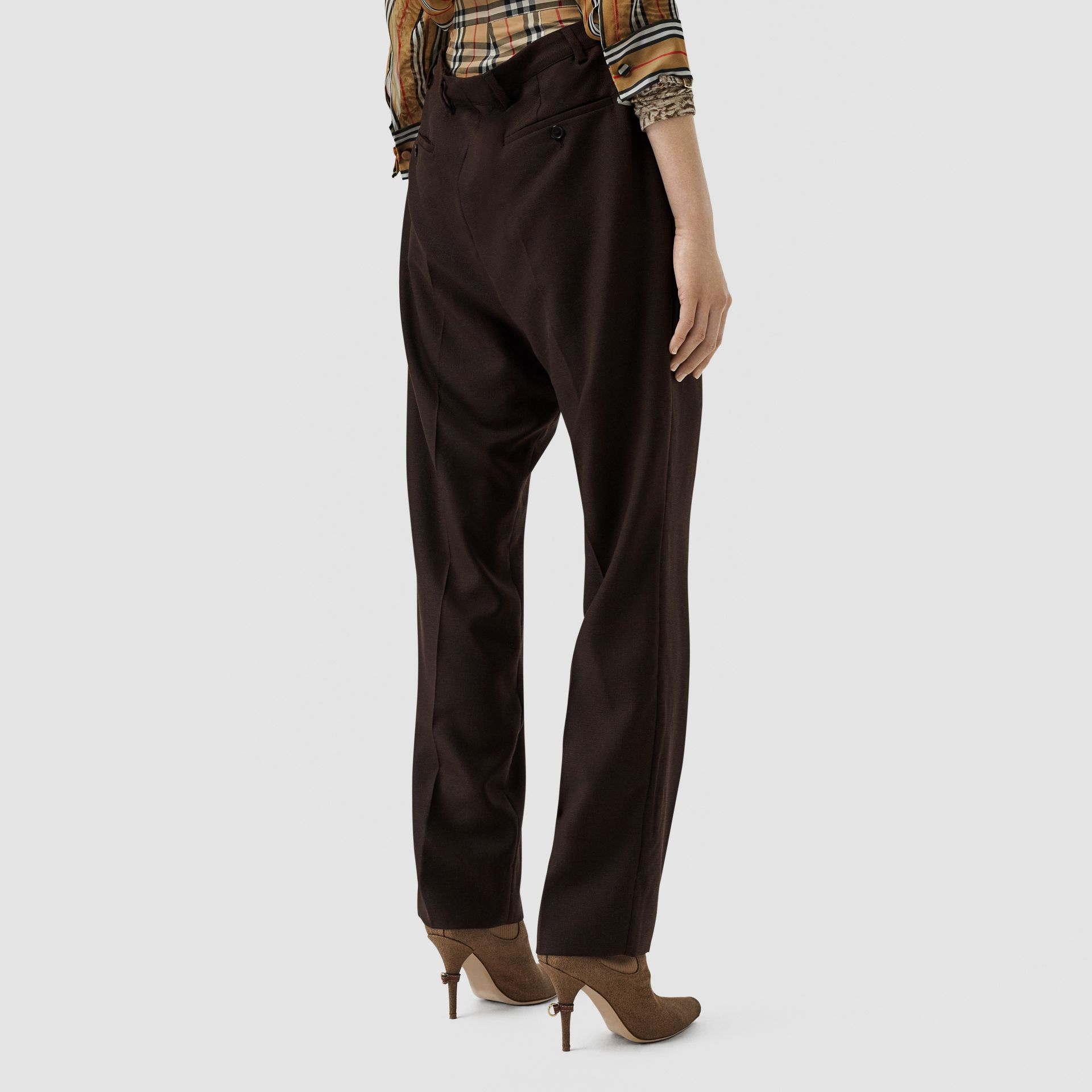 Vintage Check Panel Double-waist Wool Trousers in Black - Women | Burberry Singapore - gallery image 2