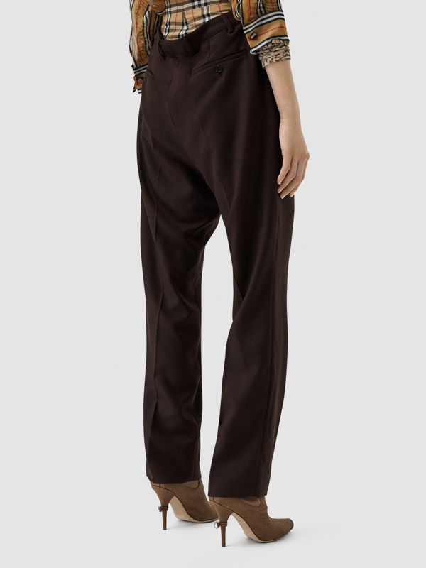 Vintage Check Panel Double-waist Wool Trousers in Black - Women | Burberry Singapore - cell image 2