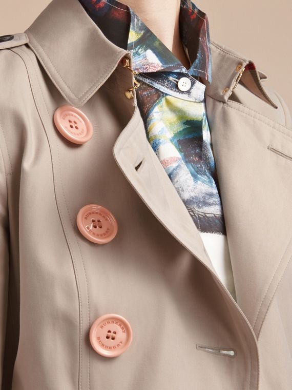 Resin Button Cotton Gabardine Trench Coat