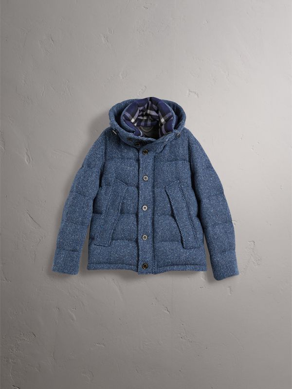 Short Down-filled Cashmere Puffer Jacket in Dark Navy - Men | Burberry - cell image 3
