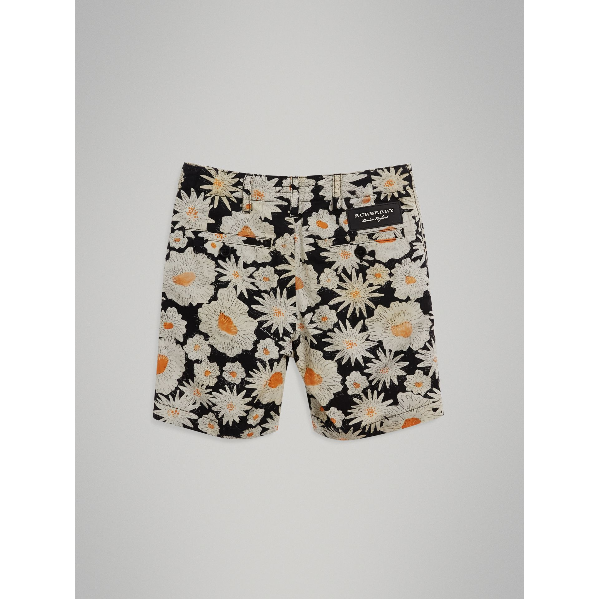 Daisy Print Cotton Chino Shorts in Black - Boy | Burberry - gallery image 3