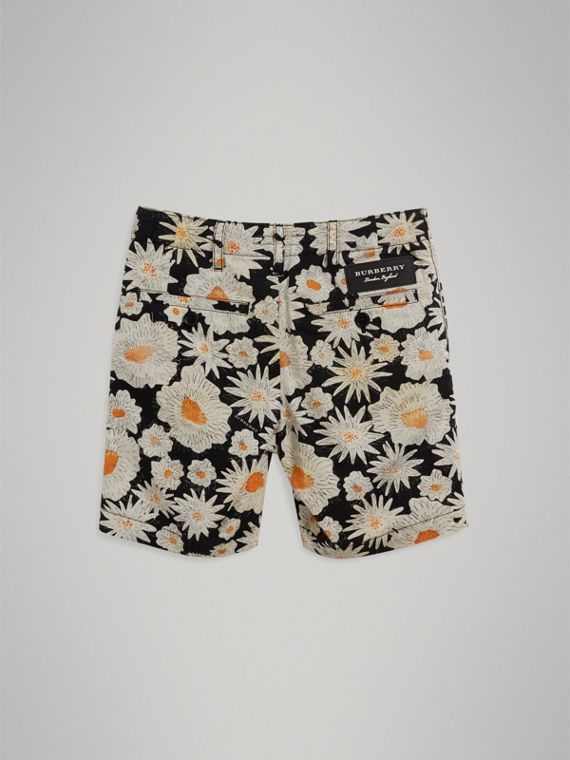 Daisy Print Cotton Chino Shorts in Black - Boy | Burberry United States - cell image 3