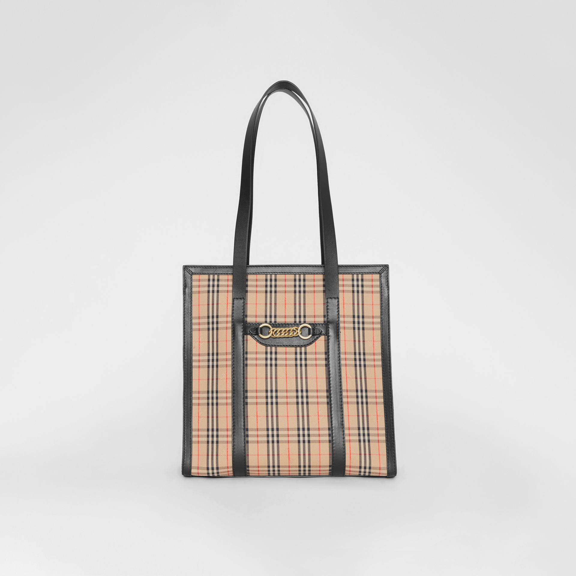 The Small 1983 Check Link Tote Bag in Black - Women | Burberry - gallery image 0