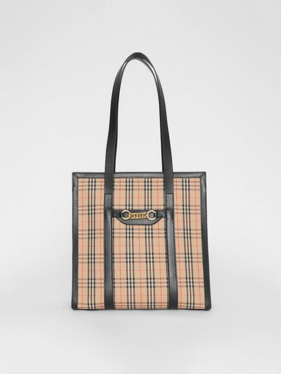 The Small 1983 Check Link Tote Bag in Black