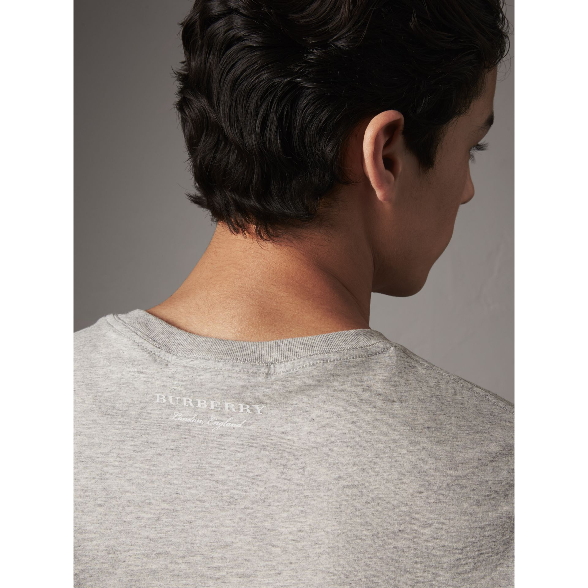 Striped Hem Cotton T-shirt in Pale Grey Melange - Men | Burberry - gallery image 1