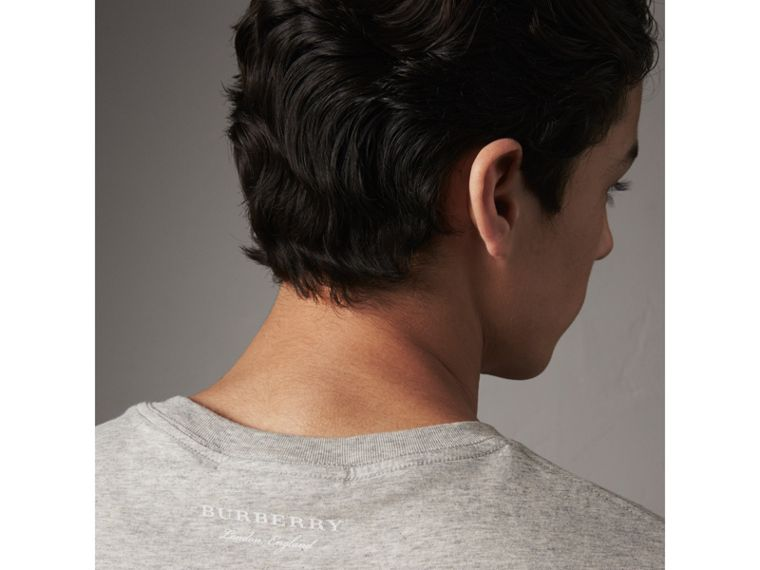 Striped Hem Cotton T-shirt in Pale Grey Melange - Men | Burberry - cell image 1