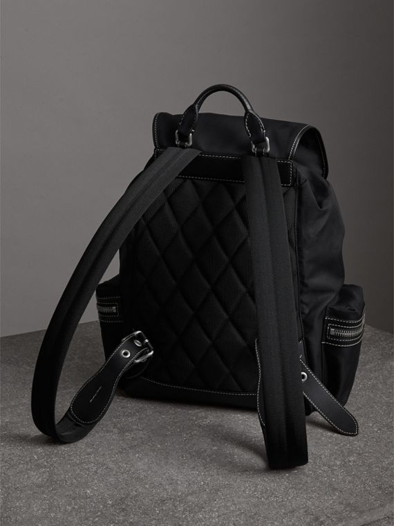 The Large Rucksack in Cotton Canvas in Black - Men | Burberry United Kingdom - cell image 3