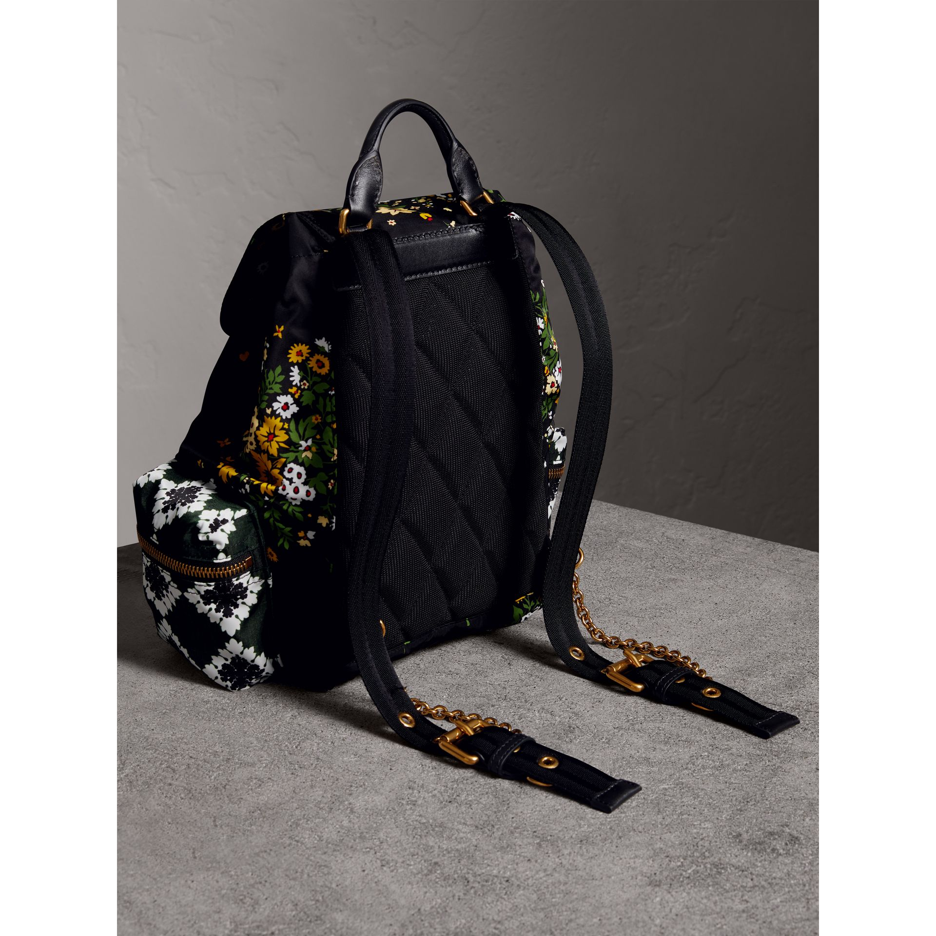 The Medium Rucksack in Floral Print in Black - Women | Burberry - gallery image 3