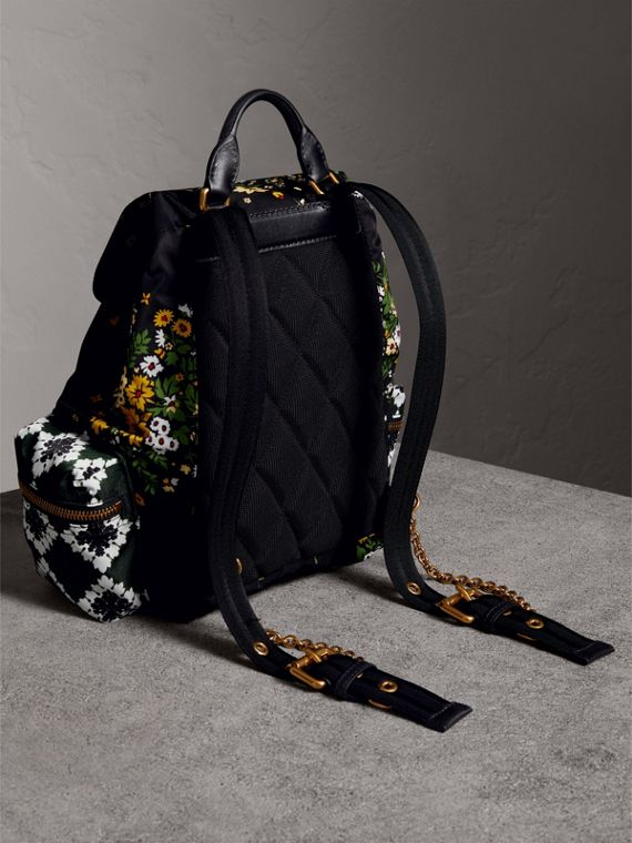 The Medium Rucksack in Floral Print in Black - Women | Burberry United Kingdom - cell image 3