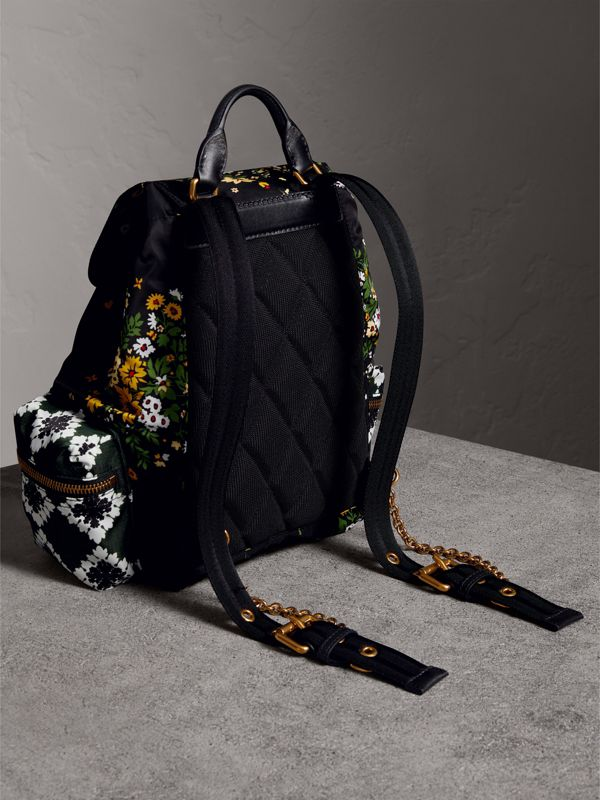 The Medium Rucksack in Floral Print in Black - Women | Burberry - cell image 3