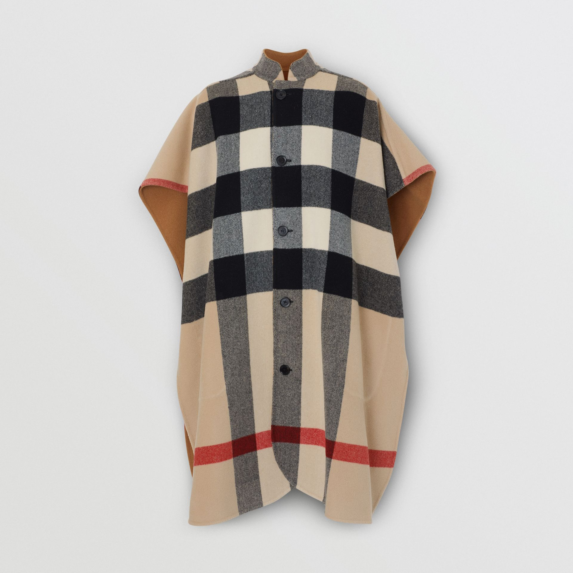 Reversible Check Wool Blend Poncho in Camel - Women | Burberry - gallery image 5
