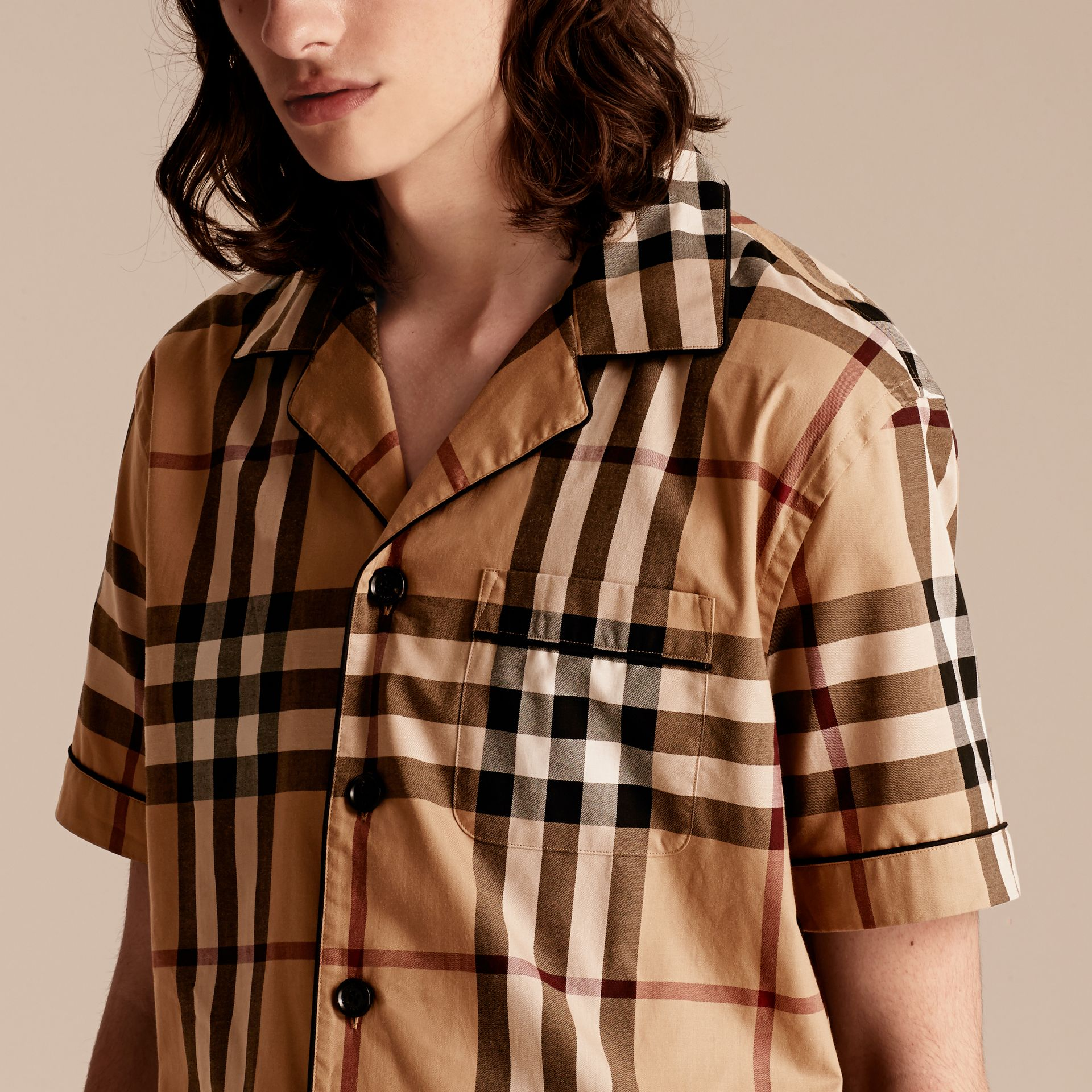 Camel Short-sleeved Check Cotton Pyjama-style Shirt Camel - gallery image 5