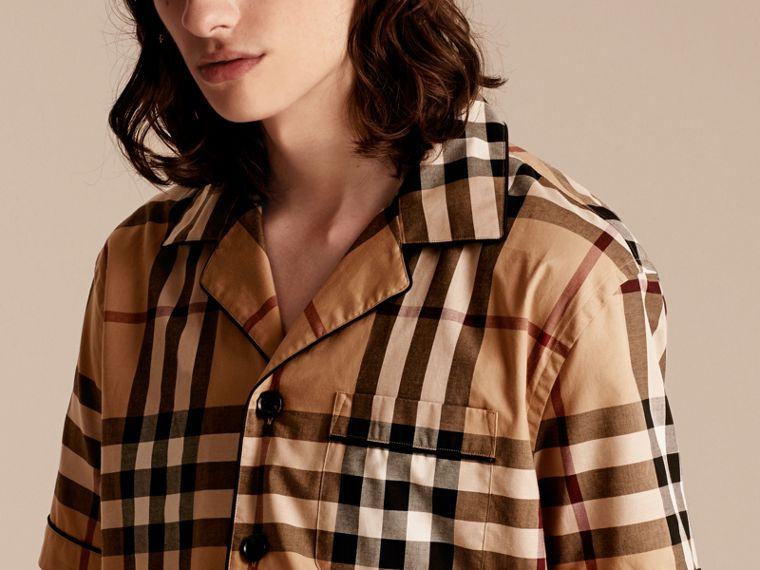 Cotton Poplin Pyjama-style Shirt in Camel - cell image 4