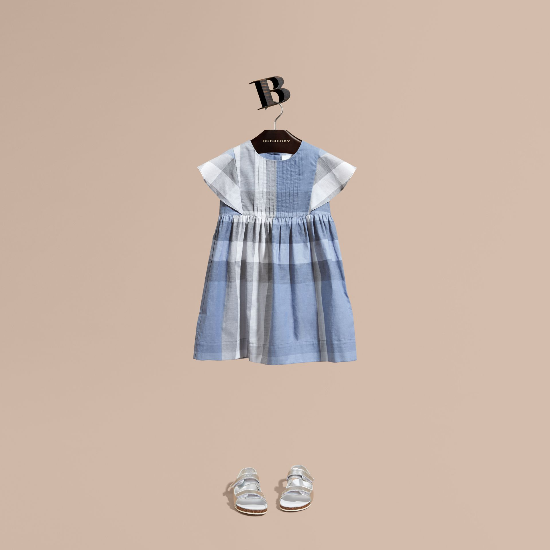 Ruffle Detail Check Cotton Dress in Canvas Blue - Girl | Burberry - gallery image 1
