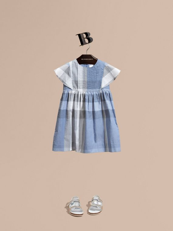 Ruffle Detail Check Cotton Dress Canvas Blue