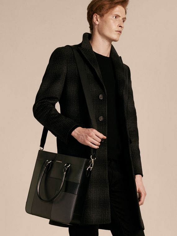 Black Patchwork London Leather Tote Bag - cell image 3