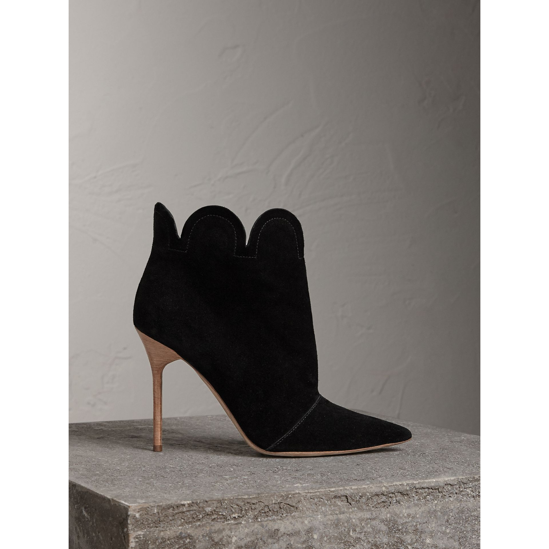 Scalloped Suede Ankle Boots in Black | Burberry United States - gallery image 0