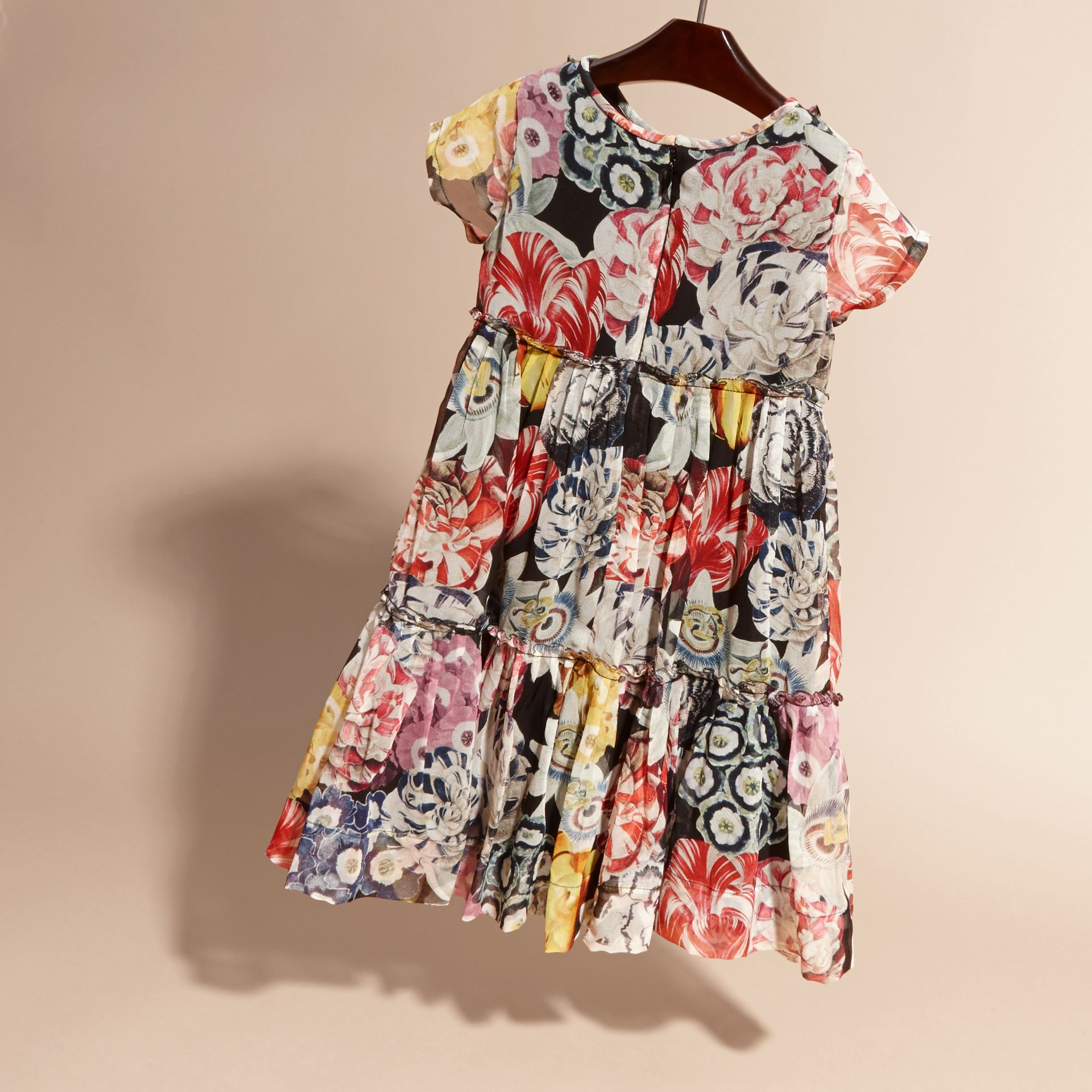 Ruched Detail Painterly Floral Print Silk Dress - gallery image 4