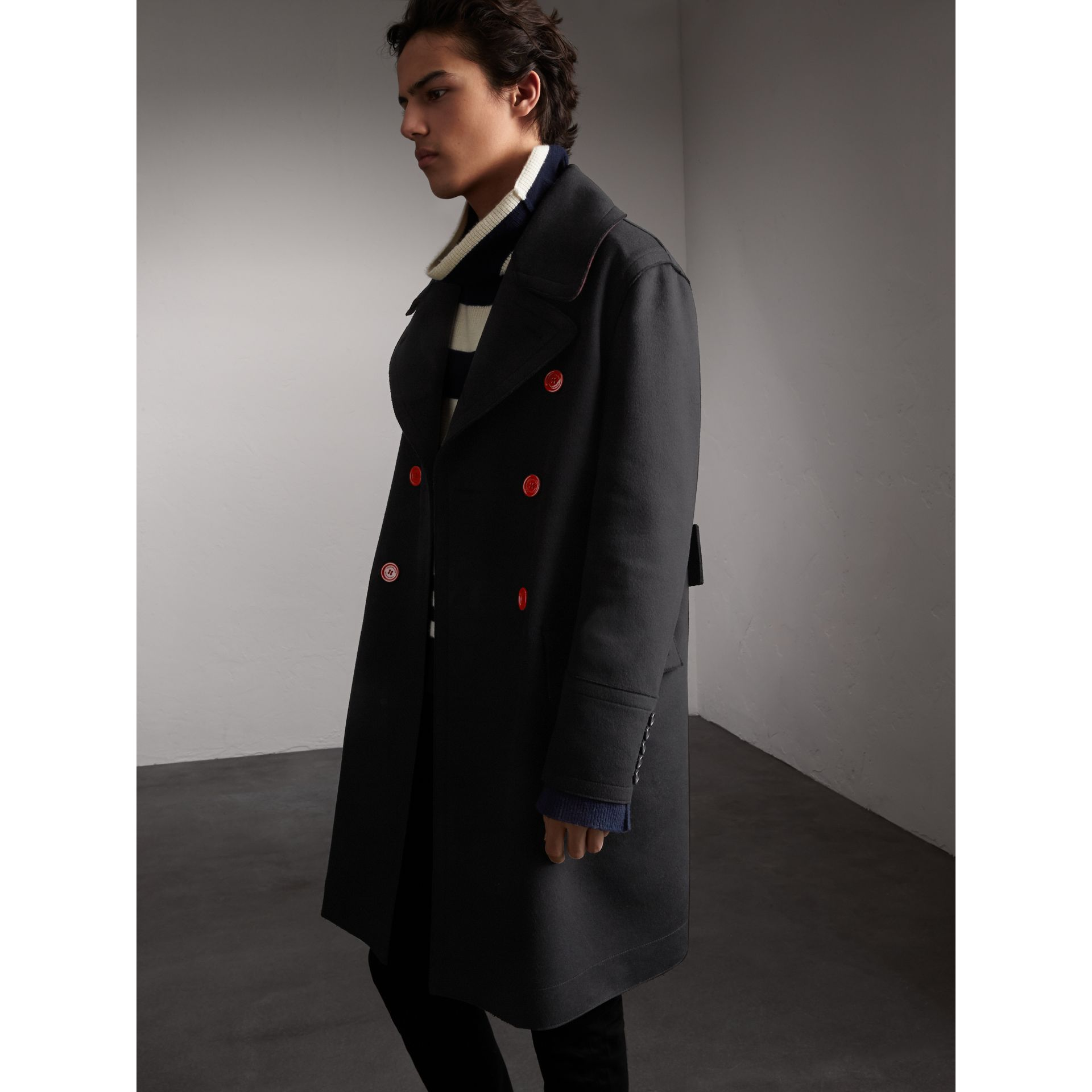 Resin Button Wool Greatcoat in Black - Men | Burberry - gallery image 6