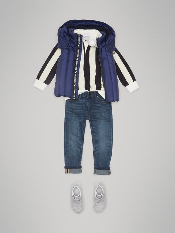 Detachable Hood Down-filled Gilet in Navy - Boy | Burberry - cell image 2