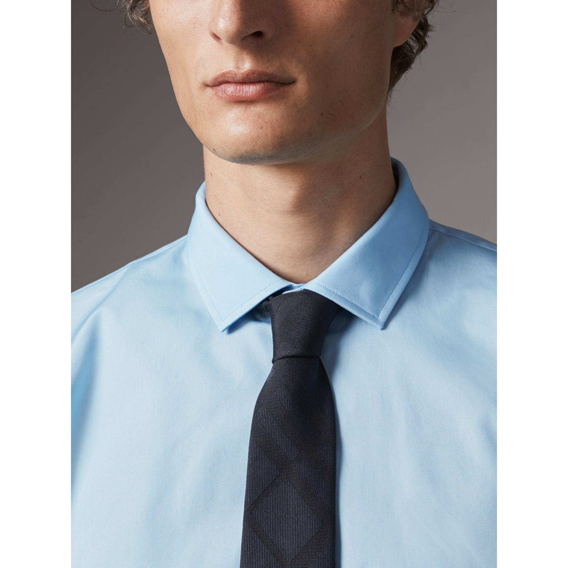Modern Fit Cotton Poplin Shirt in City Blue - Men | Burberry Australia - gallery image 2