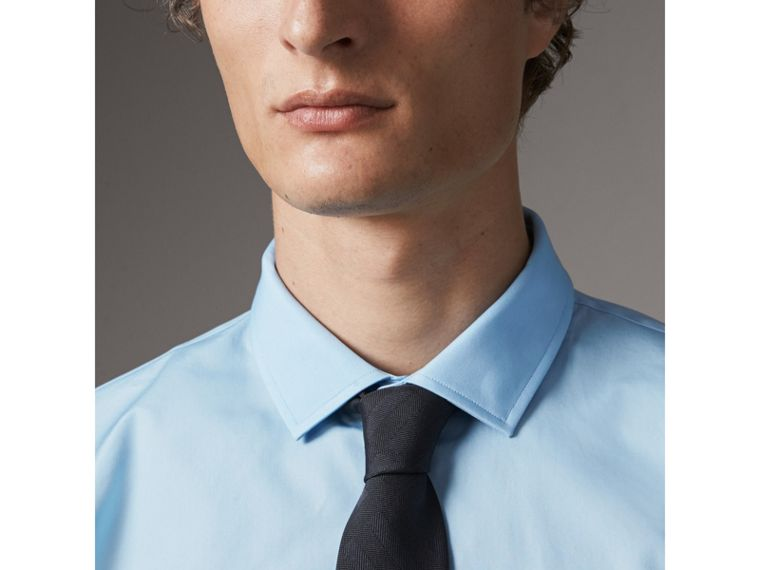 Modern Fit Cotton Poplin Shirt in City Blue - Men | Burberry Australia - cell image 1