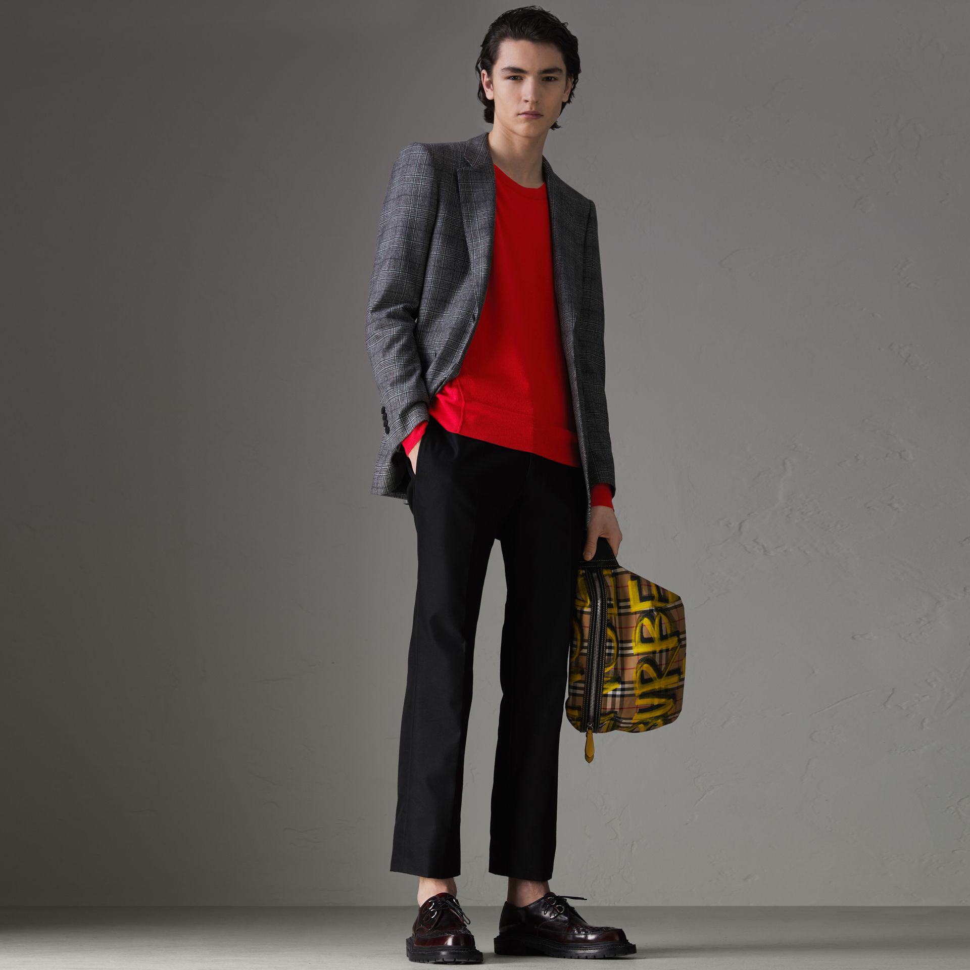 Check Detail Merino Wool Sweater in Dark Cobalt - Men | Burberry Singapore - gallery image 0