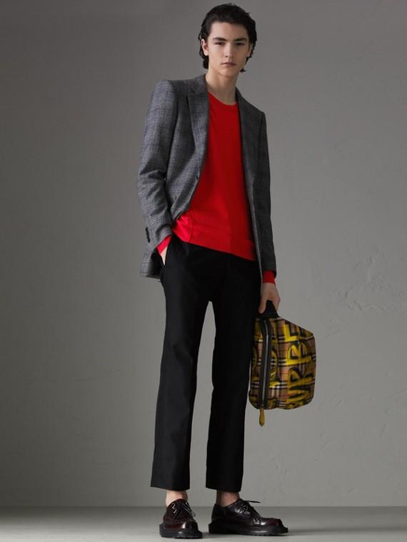 格紋細節設計美麗諾羊毛套頭衫 (暗鈷藍)