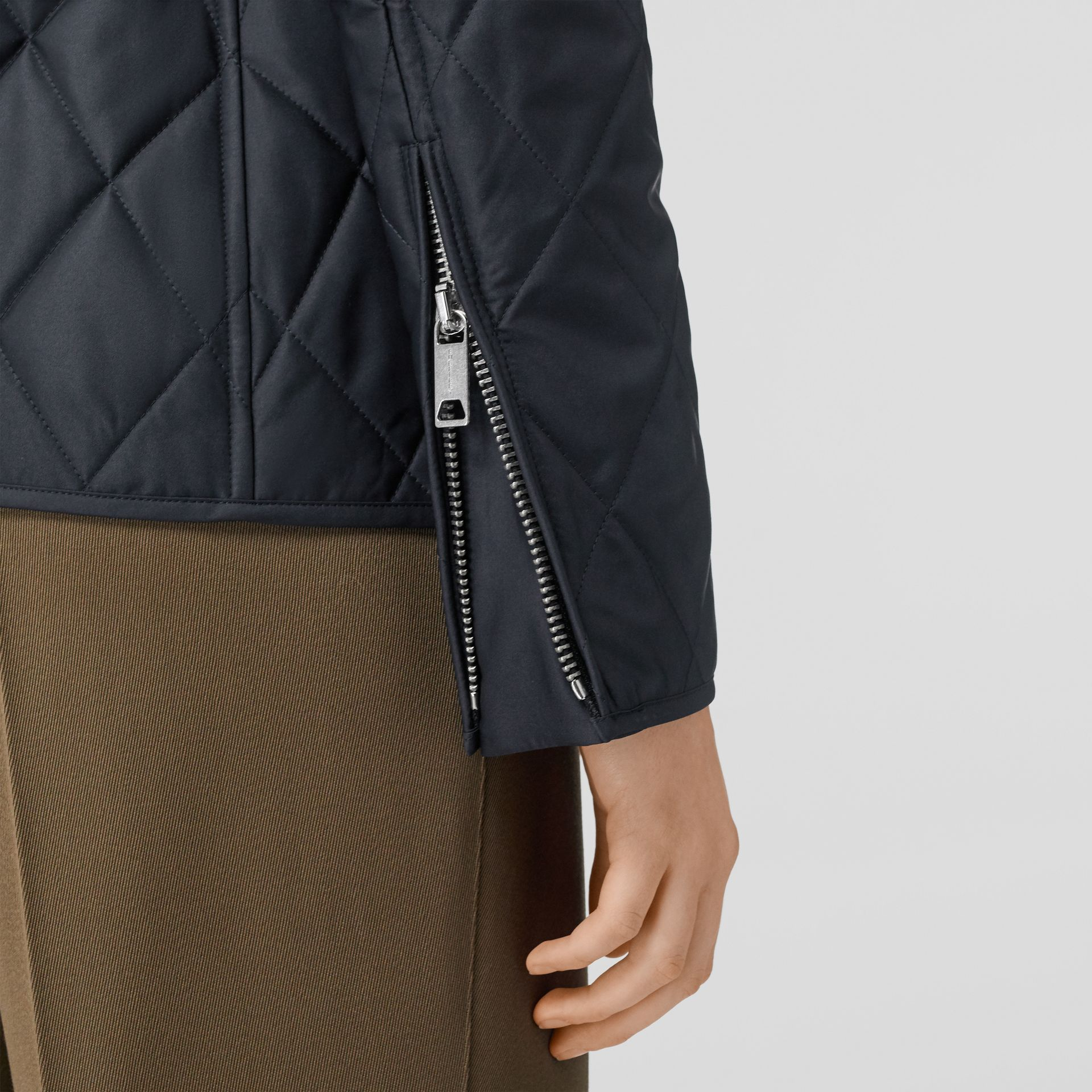 Monogram Motif Quilted Riding Jacket in Navy - Women | Burberry - gallery image 5