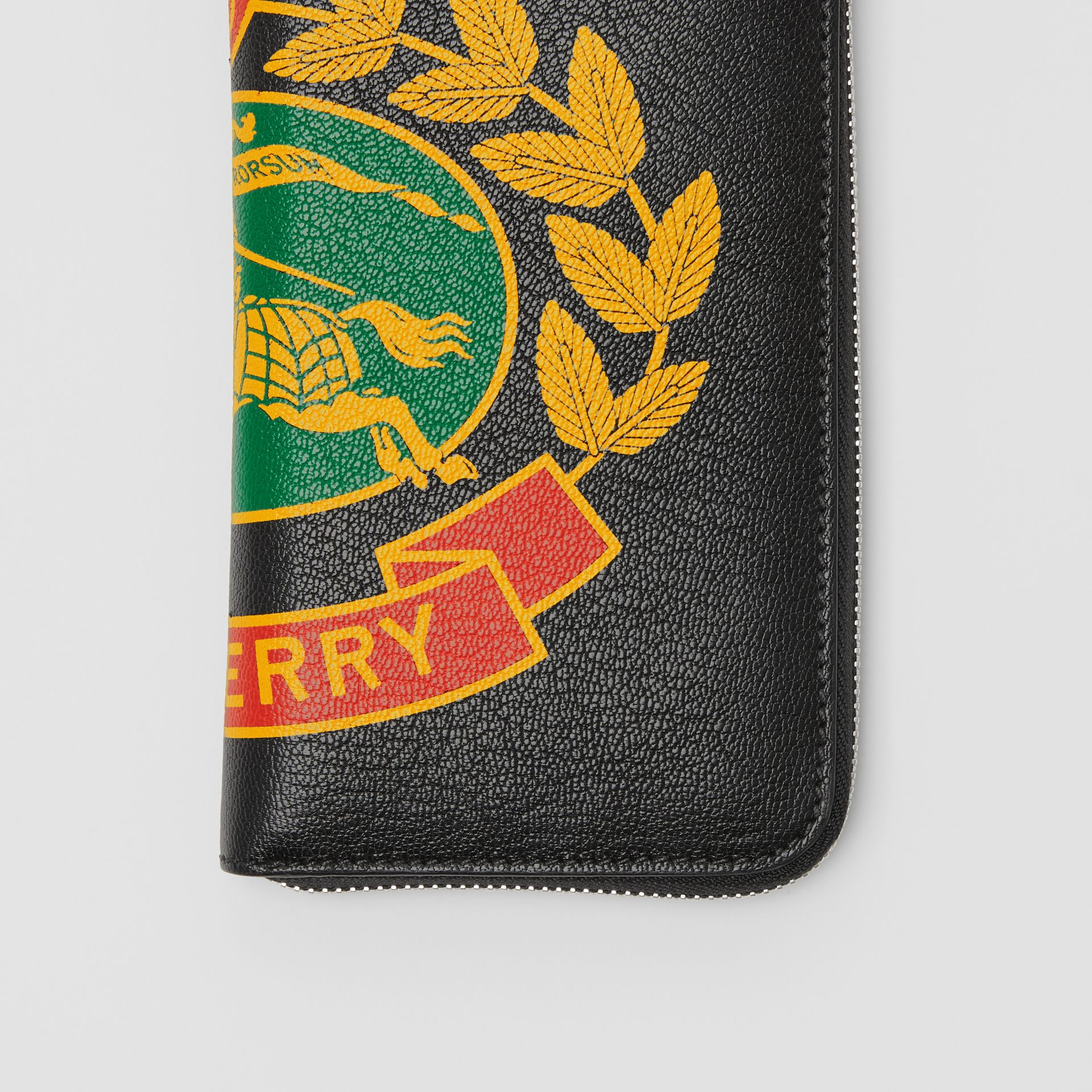 Crest Print Leather Ziparound Wallet in Rust Red - Men | Burberry United Kingdom - gallery image 1