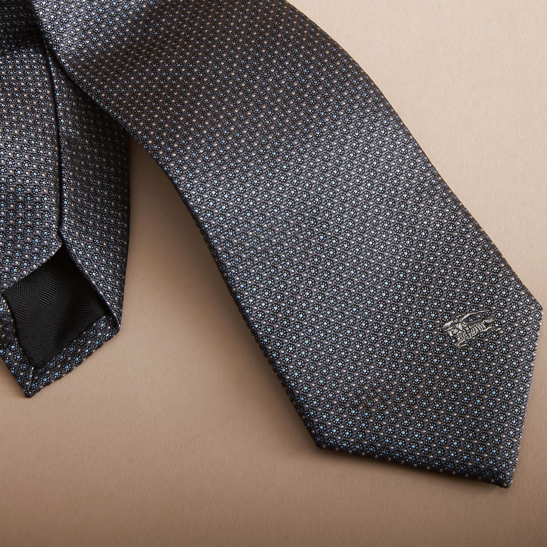 Modern Cut Patterned Silk Tie in Mid Grey - gallery image 2