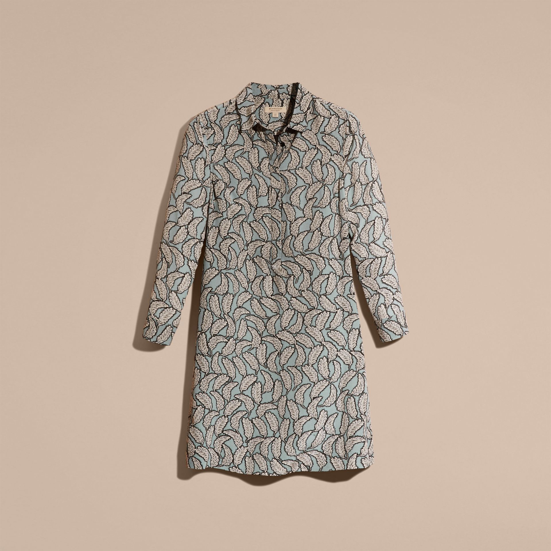 Bleu pierre Robe chemise en soie à imprimé feuillage - photo de la galerie 4