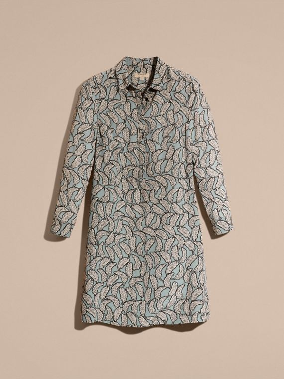 Stone blue Leaf Print Silk Shirt Dress - cell image 3