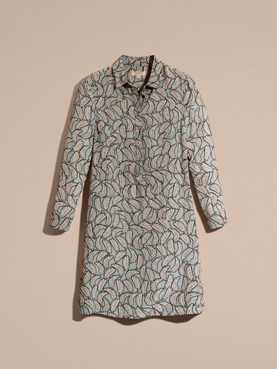 Bleu pierre Robe chemise en soie à imprimé feuillage - cell image 3