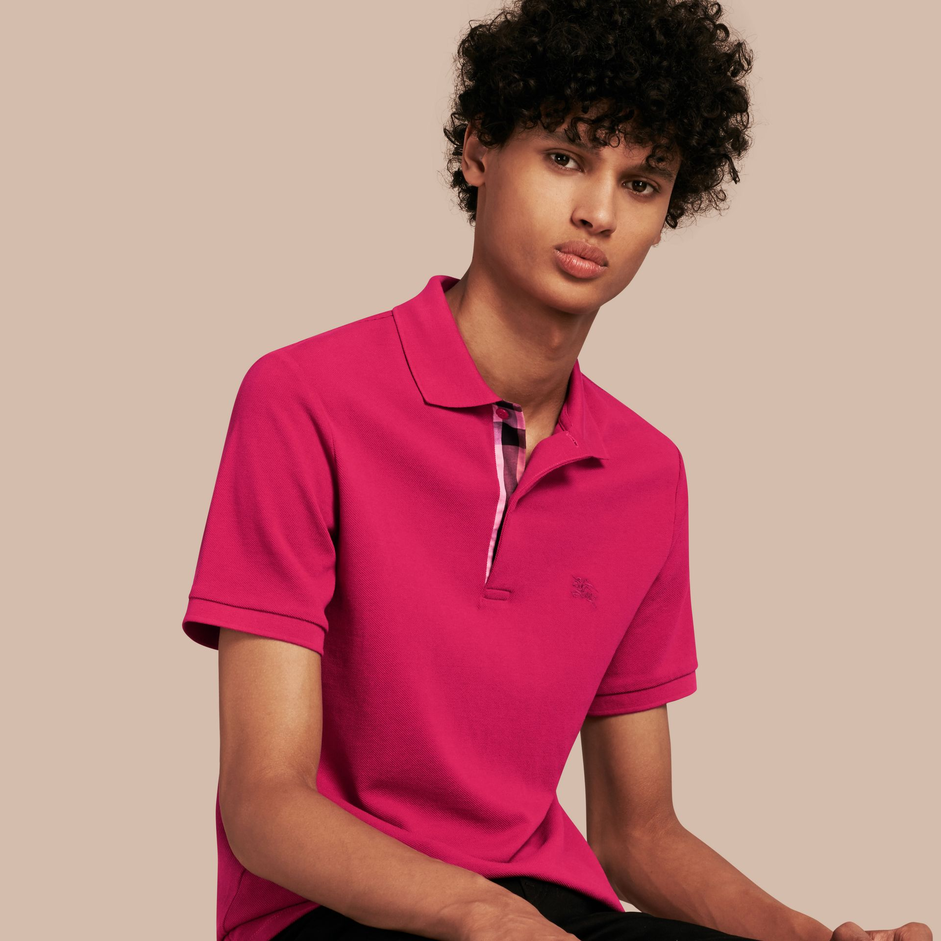 Check Placket Cotton Piqué Polo Shirt in Vibrant Fuchsia - gallery image 1