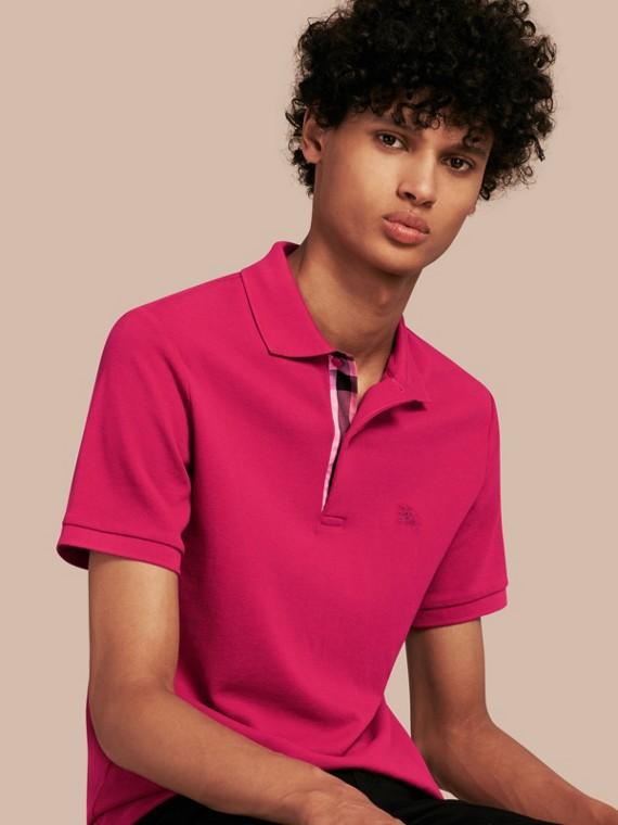 Check Placket Cotton Piqué Polo Shirt in Vibrant Fuchsia - Men | Burberry