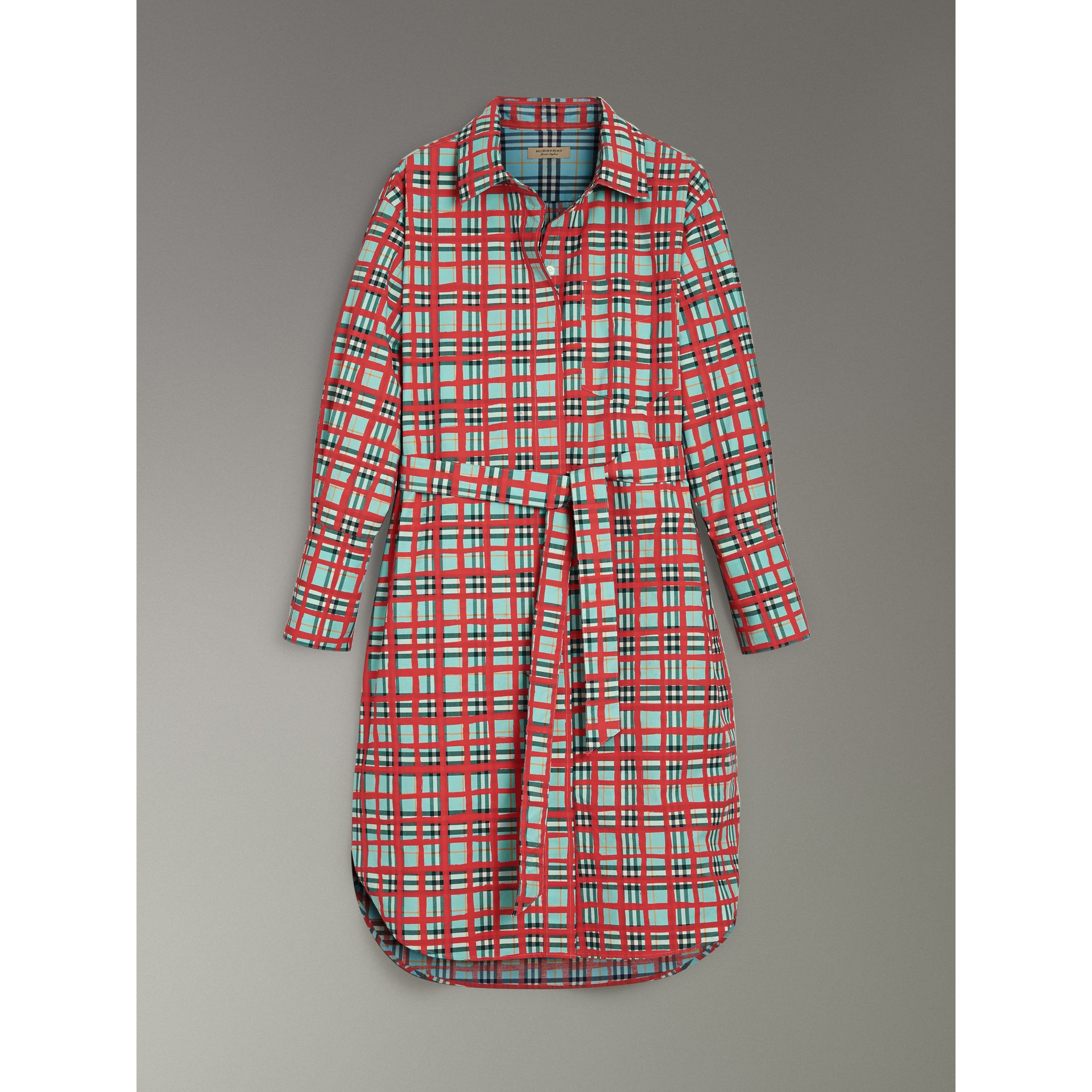 Платье-рубашка из хлопка в клетку (Морская Волна) - Для женщин | Burberry - изображение 3