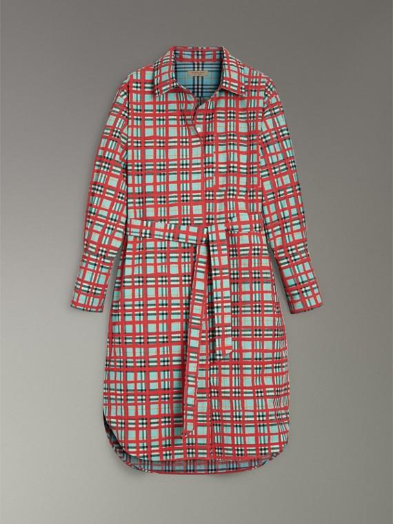 Платье-рубашка из хлопка в клетку (Морская Волна) - Для женщин | Burberry - cell image 3