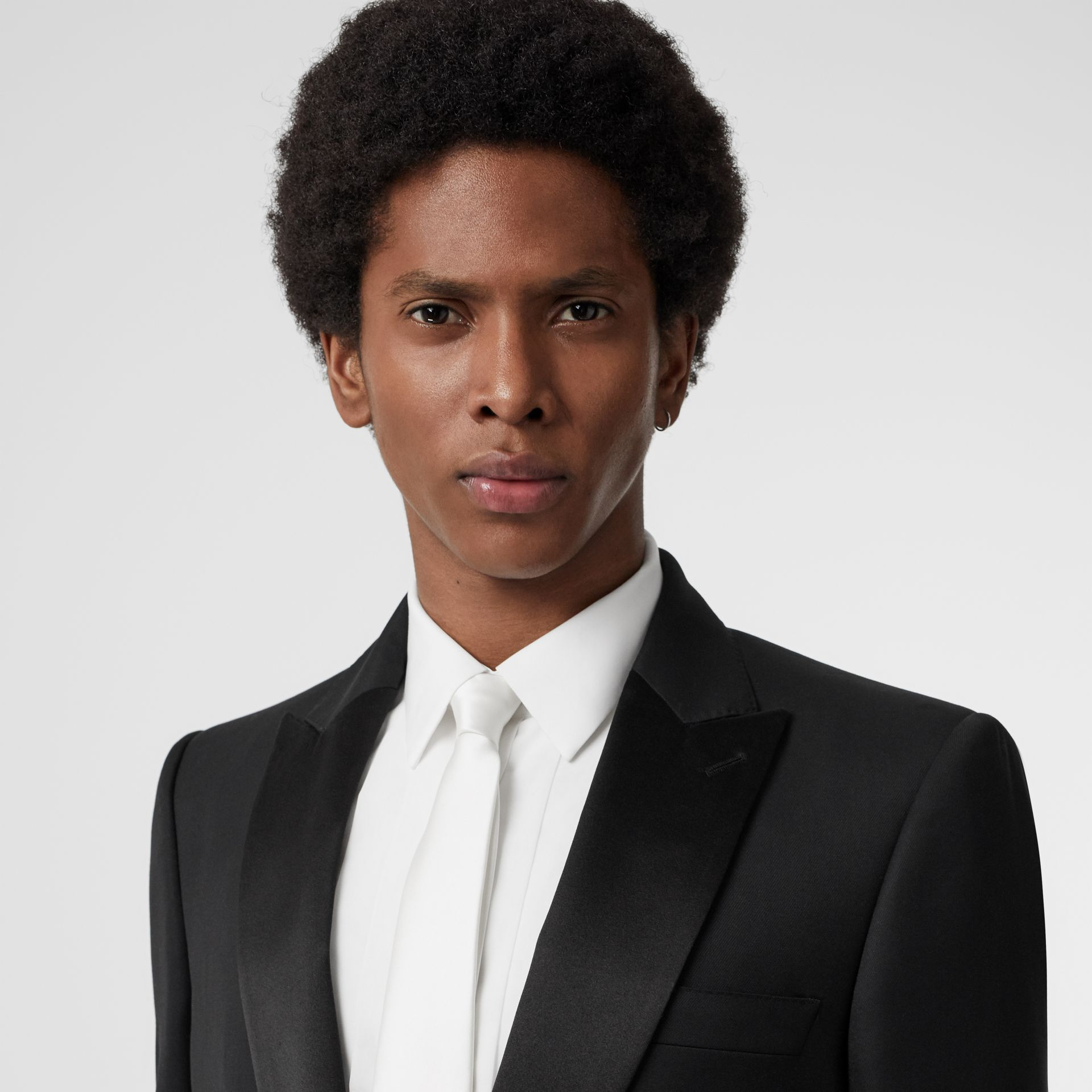 Modern Cut Silk Satin Tie in White - Men | Burberry Canada - gallery image 2