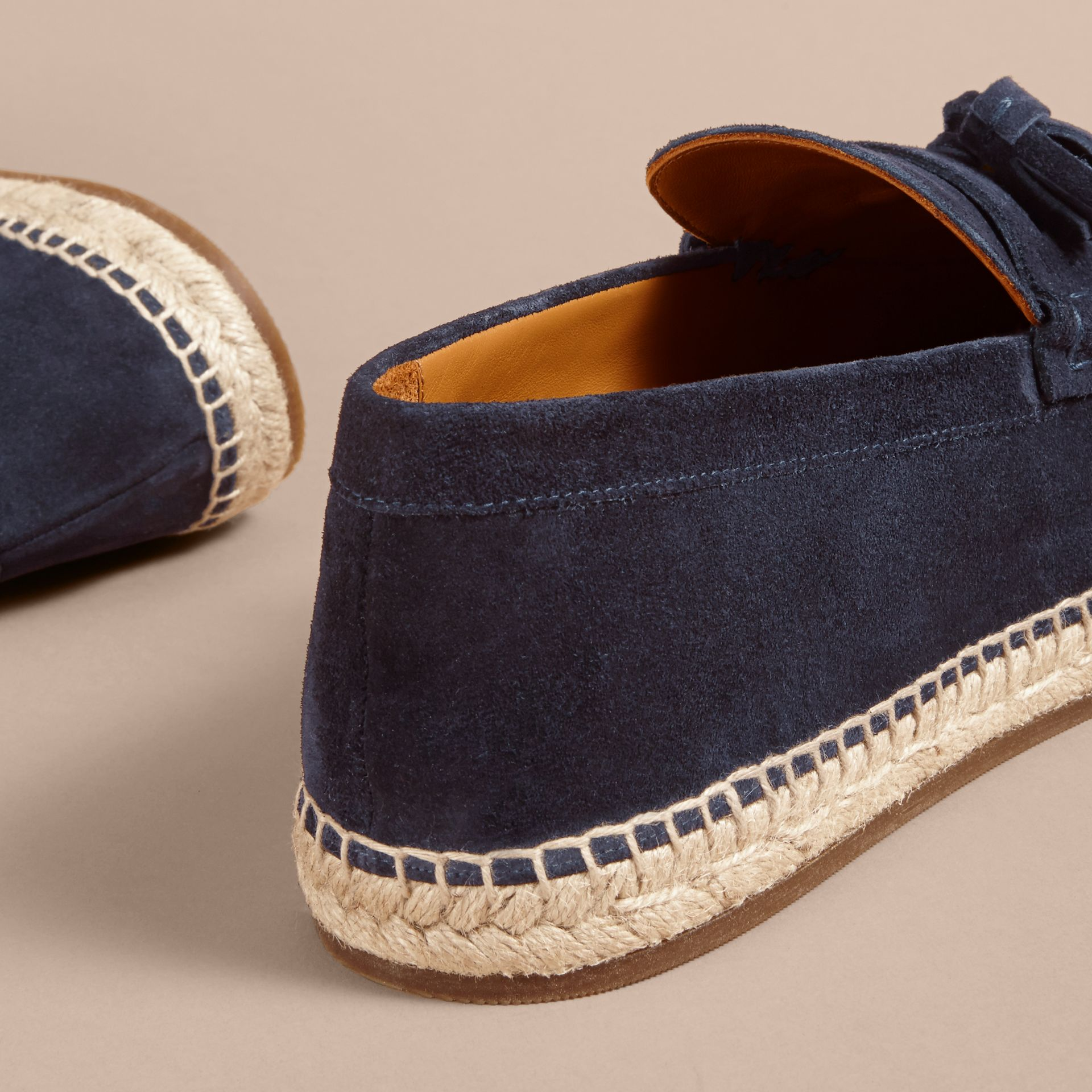 Tasselled Suede Espadrille Loafers Midnight Blue - gallery image 4