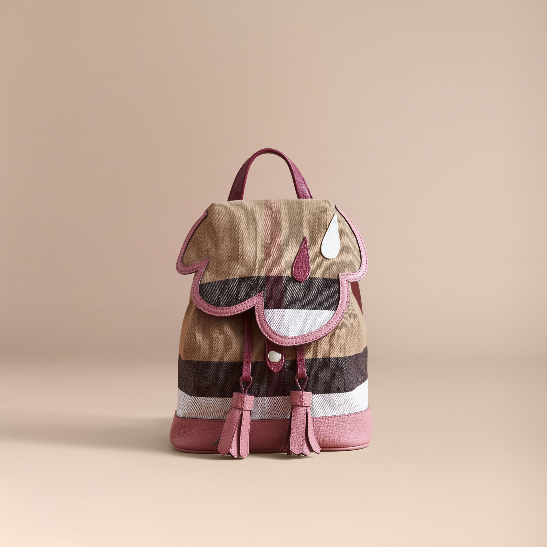 Weather Motif Canvas Check Mini Backpack in Mauve Pink | Burberry - gallery image 5
