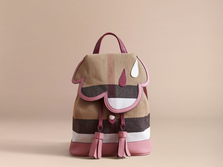Weather Motif Canvas Check Mini Backpack in Mauve Pink | Burberry - cell image 4