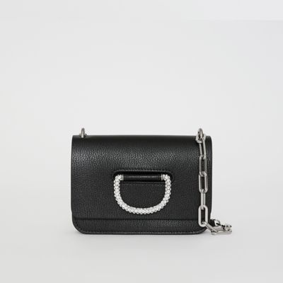 The Mini Leather D-ring Bag with Crystal Details